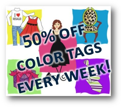 50% off color tags every week.