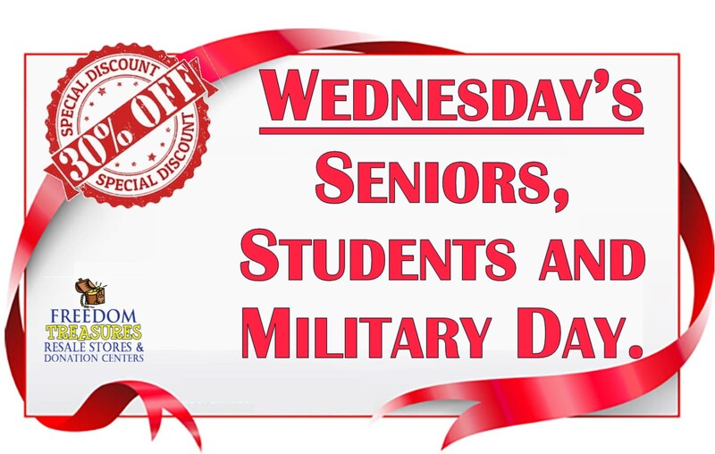 Wednesday's Seniors, students and military receive 30% off their purchase.